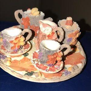 90's Vintage Resin Miniature Tea Set-Fall Leaves